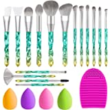 TEATTY Makeup Brushes 16 Pcs Crystal handle Makeup Brush Set 2 Silicone Face Mask Brush&4 Blender Sponge&1 Brush Cleaner Prem