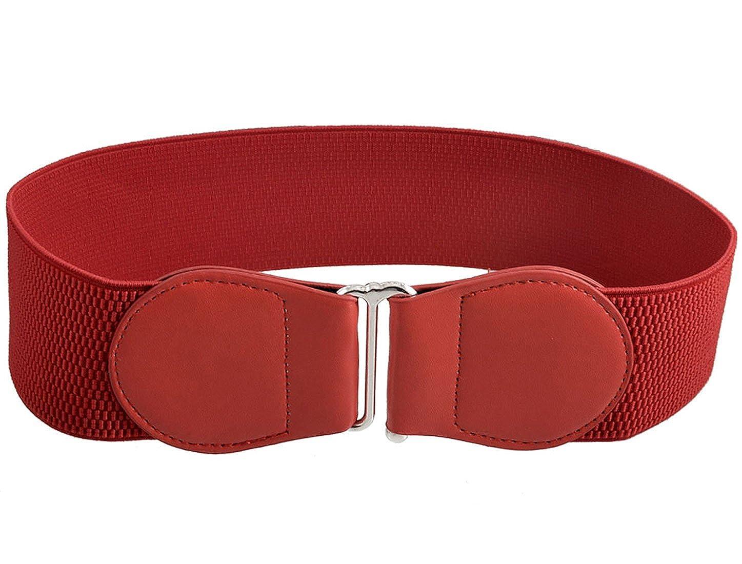 sourcing map Boucle Verrouillage mesdames 6cm largeur ceinture élastique  rouge foncé élastique  Amazon.fr  Vêtements et accessoires e8da545f675
