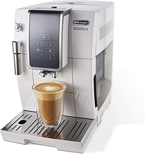De Longhi Dinamica Automatic Coffee Espresso Machine TrueBrew Iced-Coffee , Burr Grinder Descaling Solution, Cleaning Brush Bean Shaped Icecube Tray, White, ECAM35020W