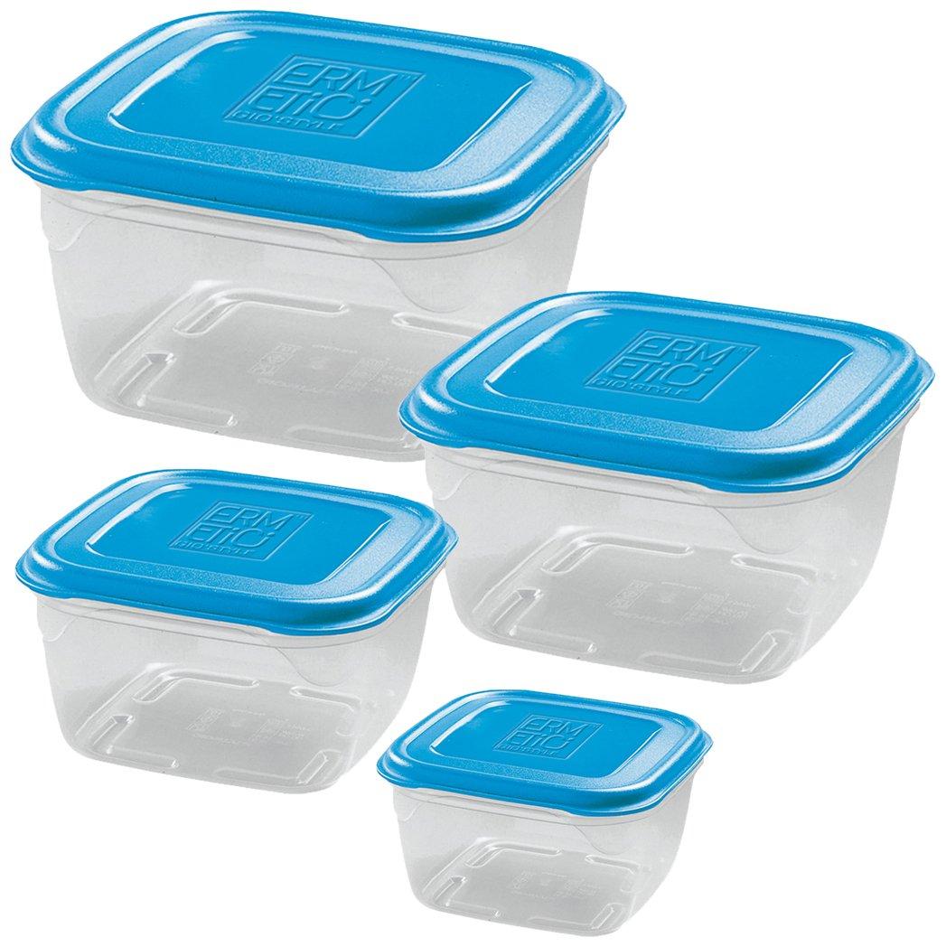 GiòStyle Set 4 Contenitori Quadrati azzurro Gio' Style