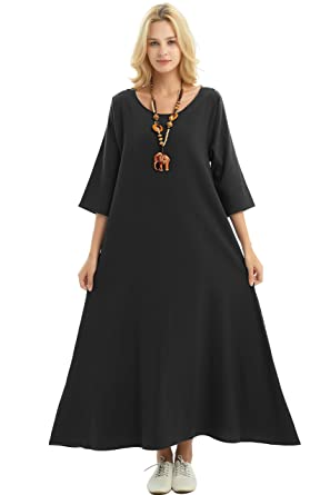 3abb22ca63 Anysize Three Quarter Sleeve Linen Cotton Spring Summer Plus Size Dress  F140A Black