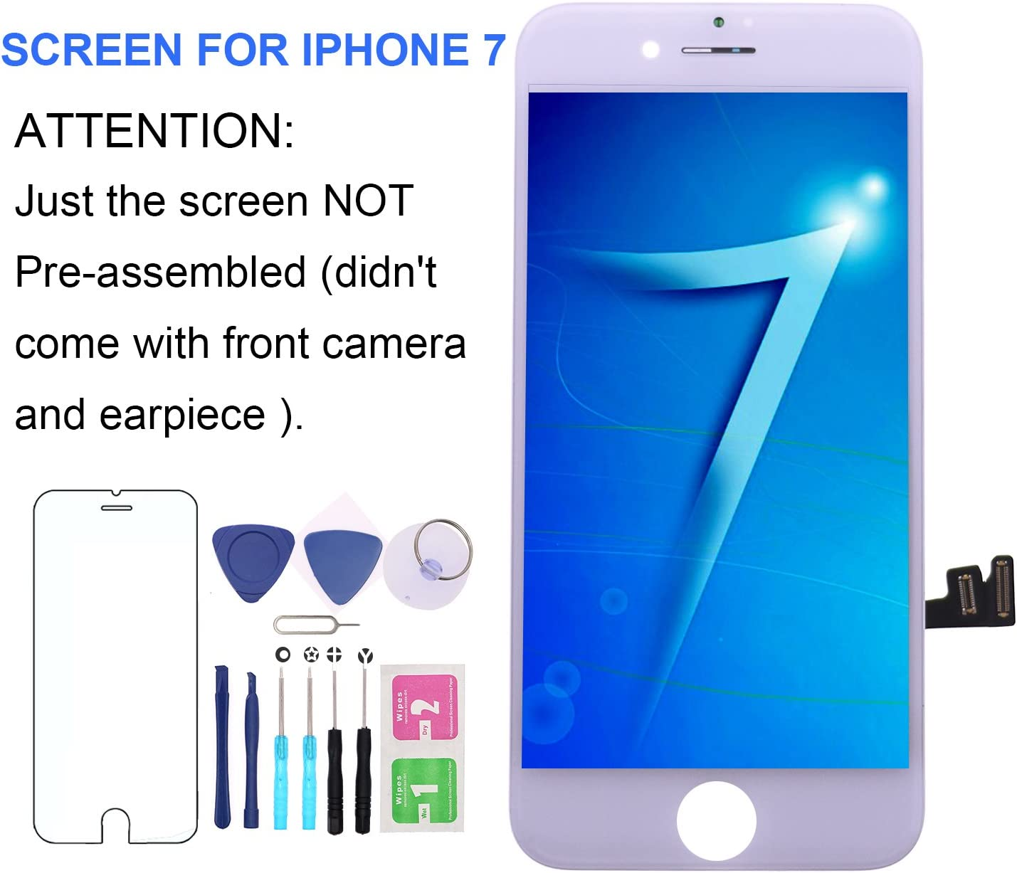 LITSPED Screen Replacement for Model iPhone 7 White 4.7 3D Touch LCD Screen Digitizer Replacement Display Assembly with Magnetic Repair Tools -