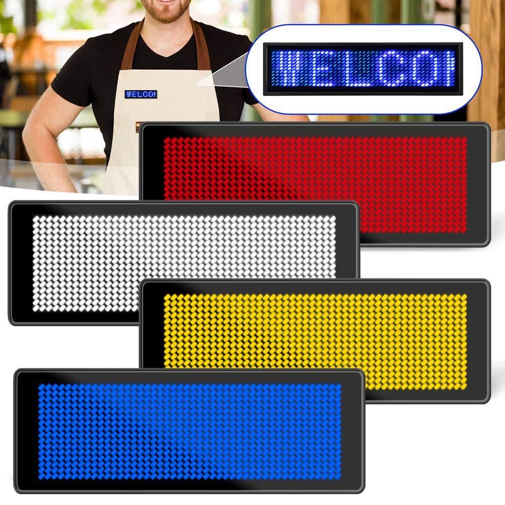 mit Pin wiederaufladbarer Software Steuerung Blue-l Calistouk LED-Namensschild Namensschild kabellos f/ür Gesch/äftsausweis