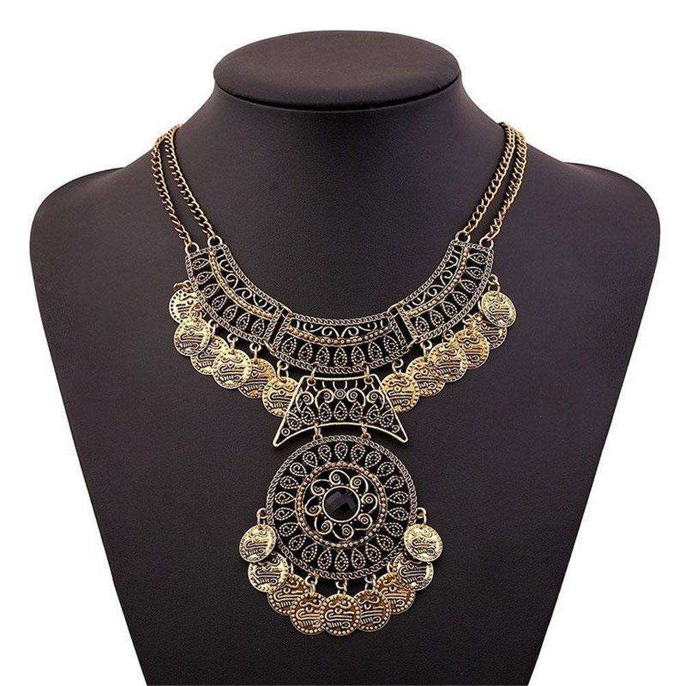 TR.OD Femme Fashion Bohemian Collar Tassel Coin Bib Statement Necklace Ancient Golden