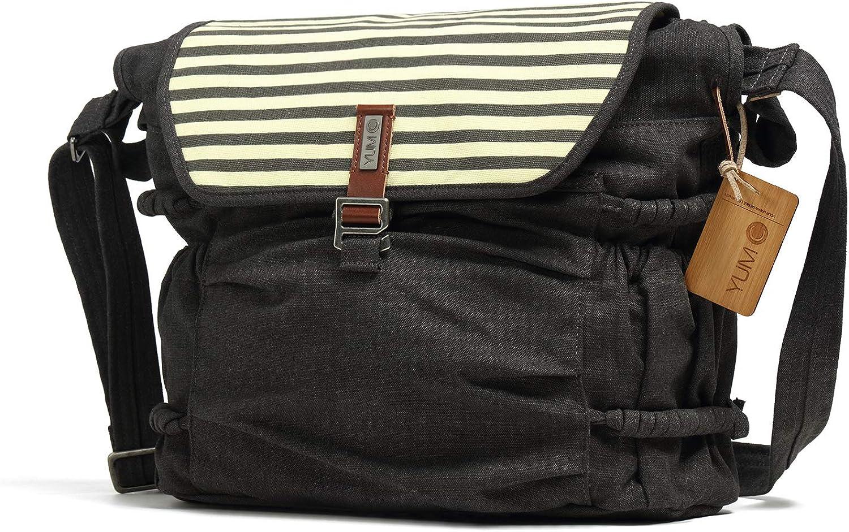 Stripes Printed Canvas Laptop Messenger Bag for Women Over the Shoulder Tote