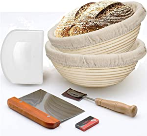 "Bread Banneton Proofing Basket, set of 2, 10"" Baking Bowl Dough Gifts for Bakers(Round)"