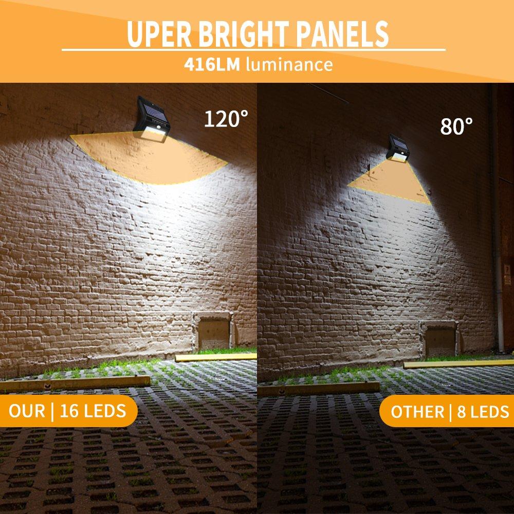 Foco Solar 16 LED Impermeable Lemebo, Luz Solar al Aire Libre, Luz de Sensor de Movimiento Inalámbrico de Seguridad para Jartín Casa Camino Escaleras Pared, ...
