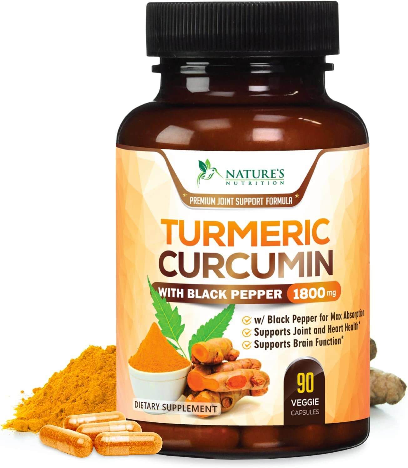 Turmeric Curcumin Max Potency 95 Curcuminoids 1800mg with Black Pepper Extract for Best Absorption, Anti-Inflammatory for Joint Relief, Turmeric Powder Supplement by Natures Nutrition – 90 Capsules