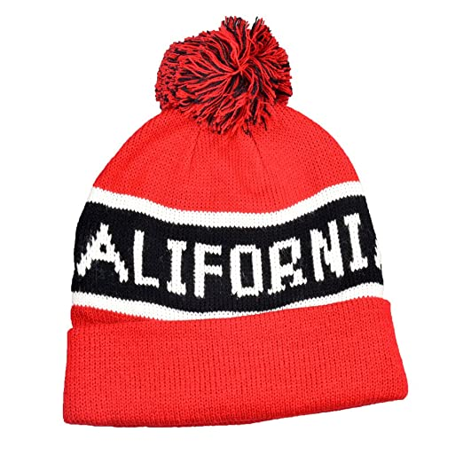 5cd19c96be3 Image Unavailable. Image not available for. Color  California Red Black  Cuff Pom Pom Beanie Knit Cap