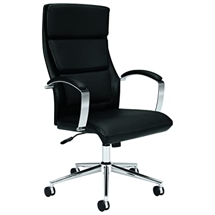 HON Executive Task Chair   High Back Leather Computer Chair Office Desk,  Black (VL105