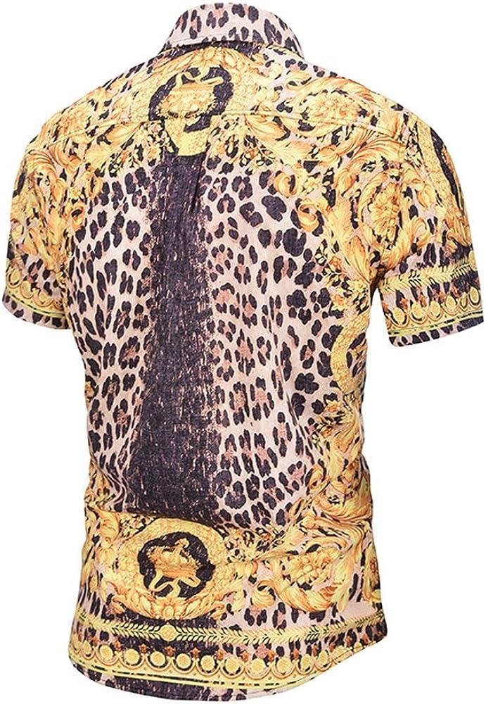 FlowerKui Caballero Tops Camisa de manga corta de leopardo dorado para hombre de verano XXL para hombre (Color : As shown, tamaño : Talla única): Amazon.es: Ropa y accesorios