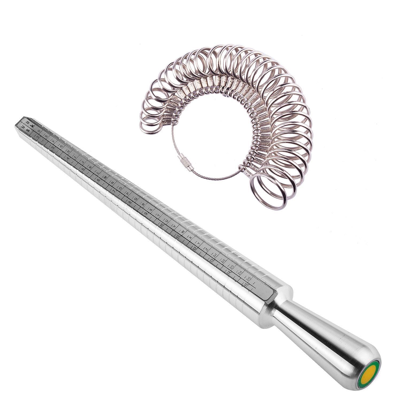 Ring Mandrel Sizer Finger Sizing Measuring Stick - Ring Sizer Guage 27 Pcs Metal Circle Models Jewelry Tool by Okreview