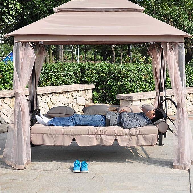 FEFEFEF Hamaca al Aire Libre Jardín Terraza Silla giratoria 3 Columpio Hamaca Cama con colchón al Aire Libre Banco de Cama: Amazon.es: Deportes y aire libre