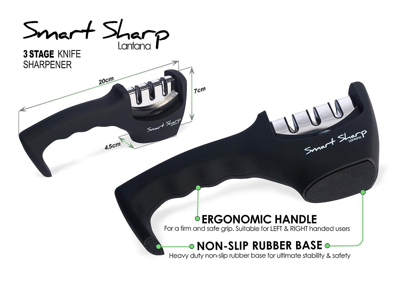 Lantana - Smart Sharp - Afilador de cuchillos en 3 pasos de última generación - Con piedra de cerámica, placas de carburo de tungsteno y barra de ...