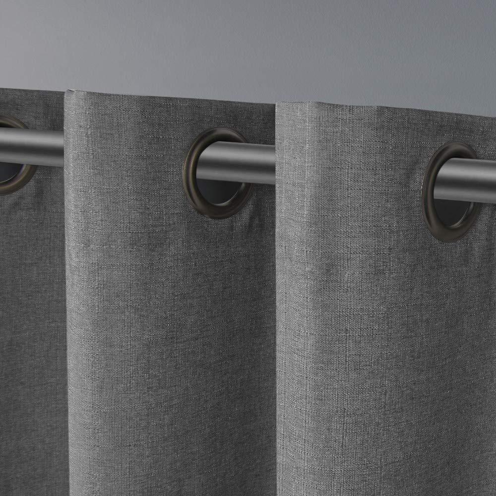 Exclusive Home London Textured Linen Thermal Grommet Top Curtain Panel Pair 2 Piece Beige 52x63