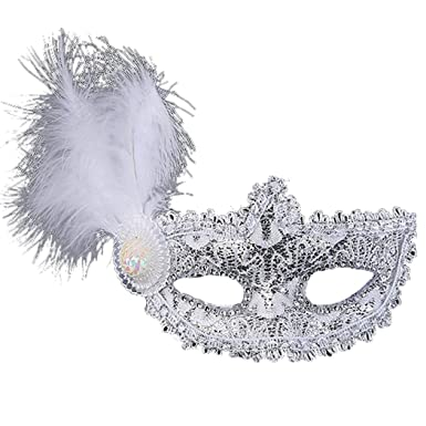 Favebridal Mujer Máscaras de ojo de plumas Venecia máscaras de ...