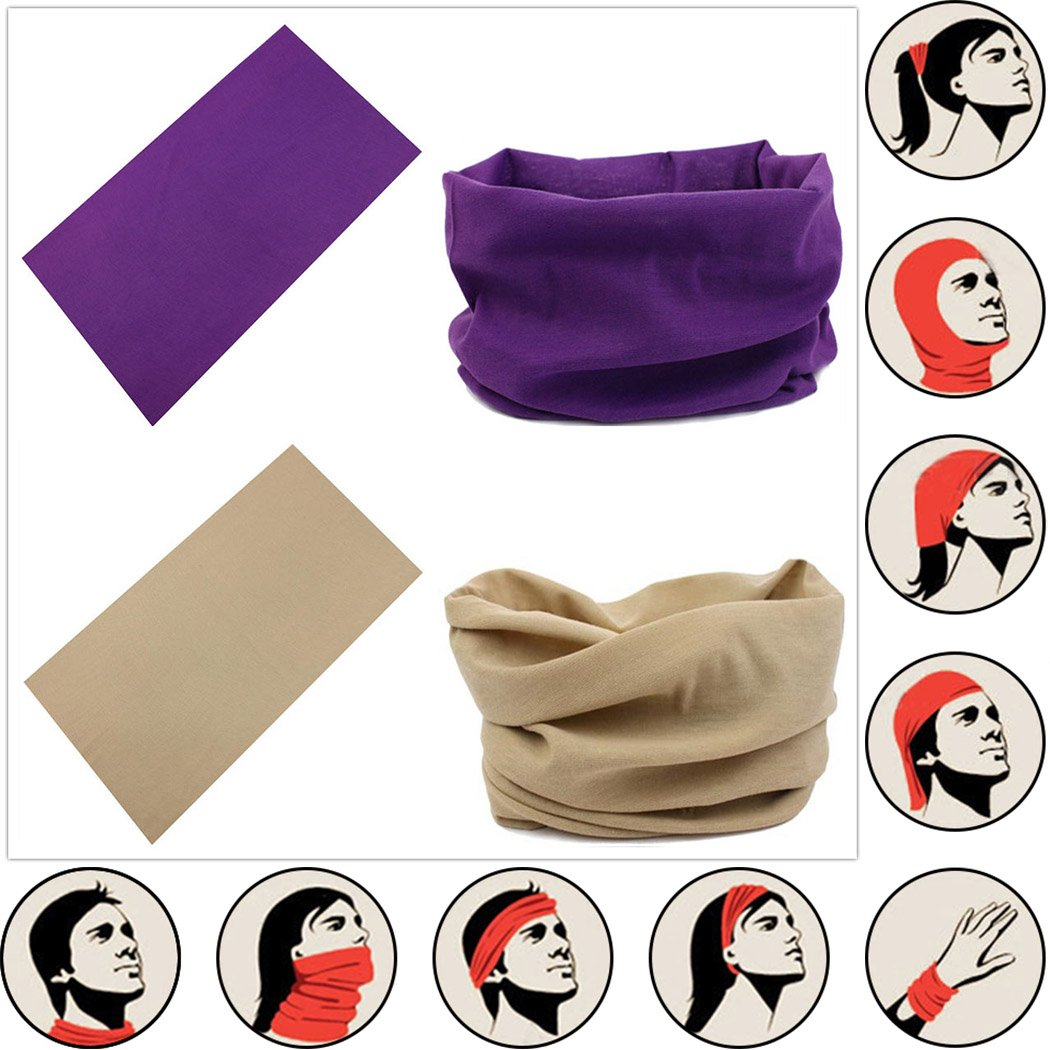 Headwear Head Wrap Sport Headband Sweatband 220 Patterns Magic Scarf 12PCS & 6PCS 12 in 1 By VANCROWN (12PCS.Solid Color) by VANCROWN (Image #2)