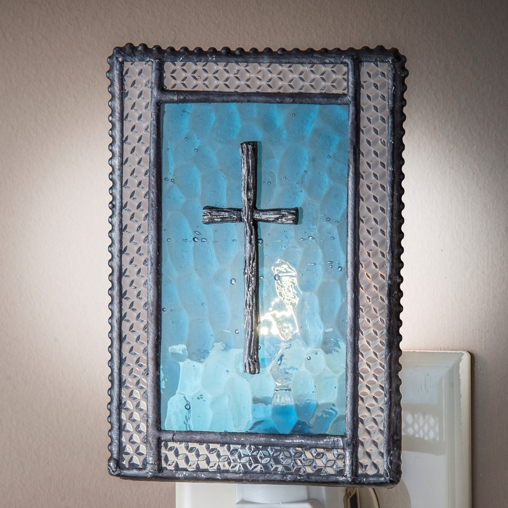 J Devlin NTL 177-2 Christian Cross Night Light Blue Decorative Stained Glass Religious Gift
