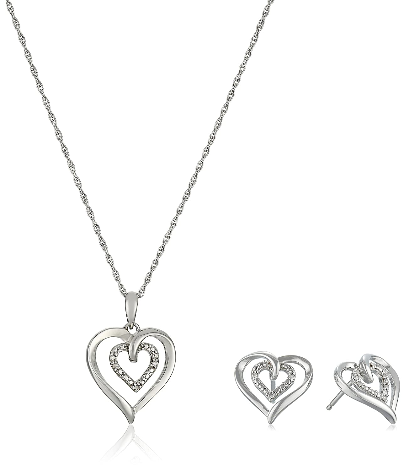 Amazon Sterling Silver and Diamond Heart Pendant Necklace and