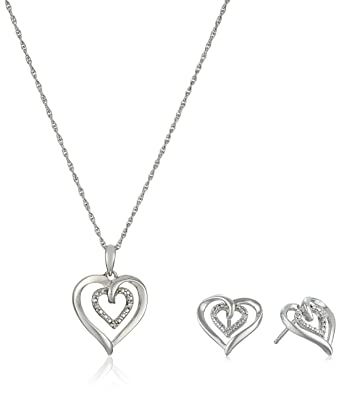 Amazon sterling silver and diamond heart pendant necklace and sterling silver and diamond heart pendant necklace and earrings box set 002 cttw mozeypictures Choice Image