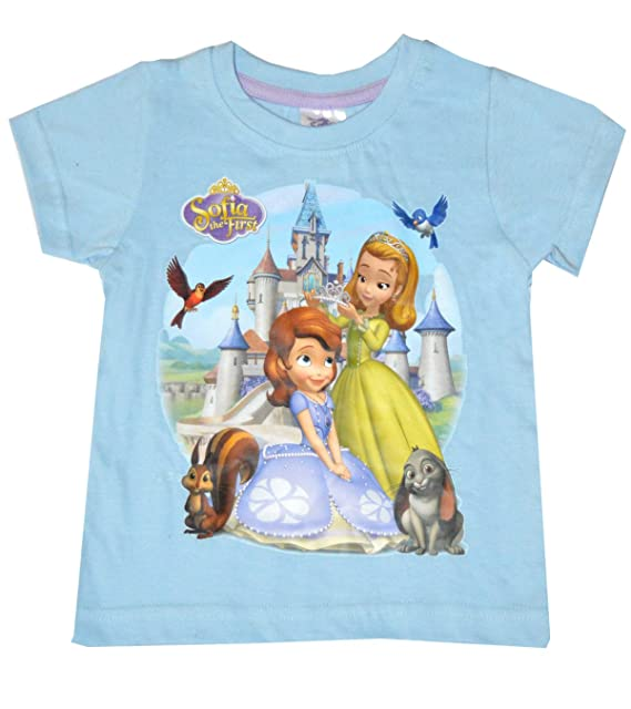 Disney Sofia the First Girl/'s Blue T-Shirt Age 18 Months-6 Years