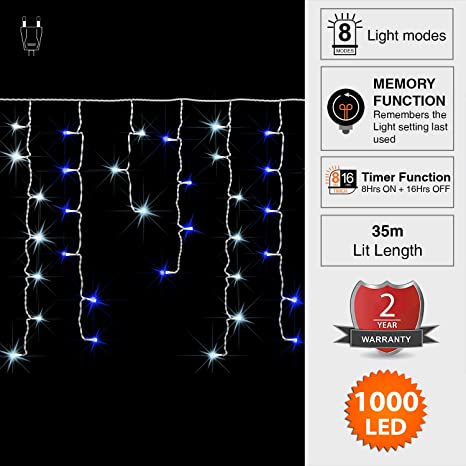 ANSIO Car/ámbano luces 1000 LED luces de /árbol de Azul y blanco brillante interior//exterior luces de Navidad cadenas powered luces cadena 35m//114ft Lit longitud con cable Blanco de cable de plomo
