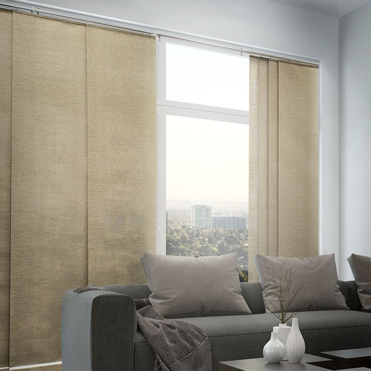 Chicology Adjustable Sliding Panels, Cut to Length Vertical Blinds, Nevada Timberwolf (Natural Woven) - Up to 80''W X 96''H