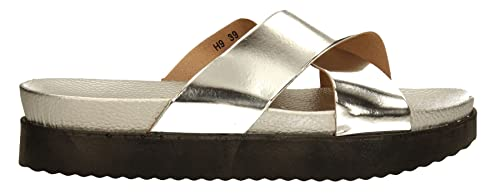 b95e7410f Avery Women Cross Over Mules Ladies Silver Beach Summer Sandals Slides  SWANKYSWANS 41