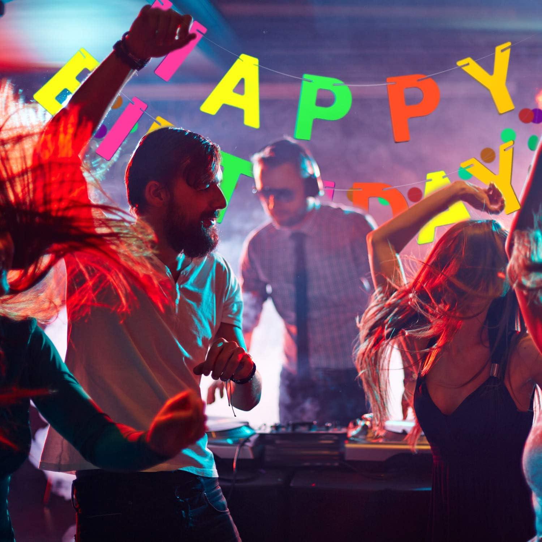 Boao Banni/ère Happy Birthday N/éon /à Lumi/ère Noire D/écoration de Banni/ère danniversaire Arc-en-Ciel Brillante UV R/éactive dans la Nuit et Le Noir Fourniture de F/ête danniversaire