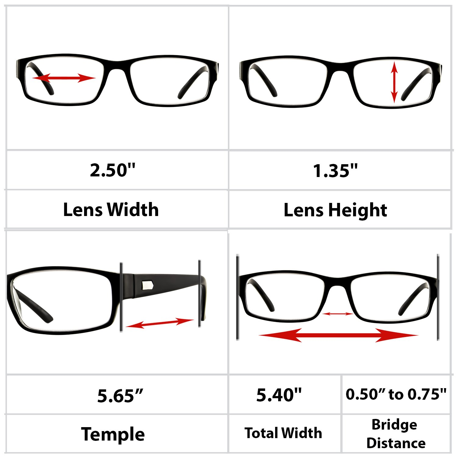 Reading Glasses 3 Pack Black Always Have a Professional Look, Crystal Clear Vision and Sure-Flex Comfort Spring Arms & Dura-Tight Screws 100% Guarantee +2.50 by TruVision Readers (Image #9)