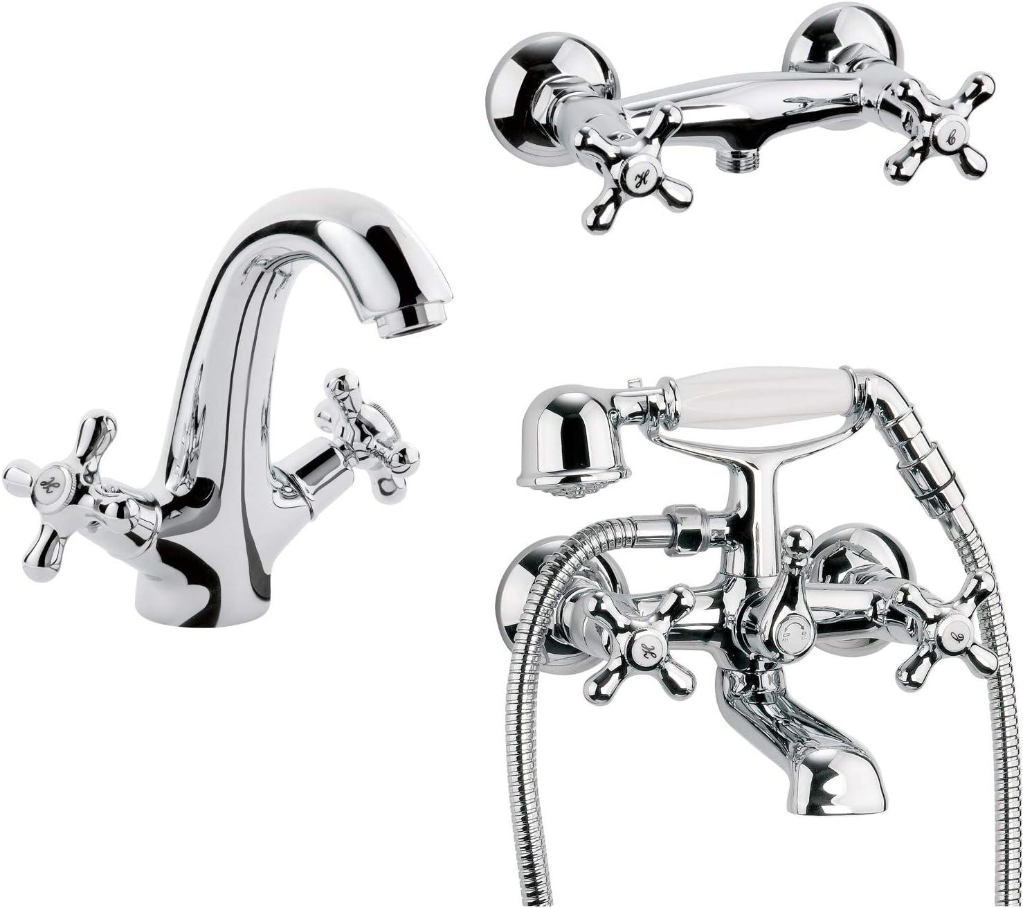 Calmwaters® - Retro Cross - Retro Wasserhahn fürs Bad im Komplett-Set für  Dusche, Badewanne und Waschbecken - 12