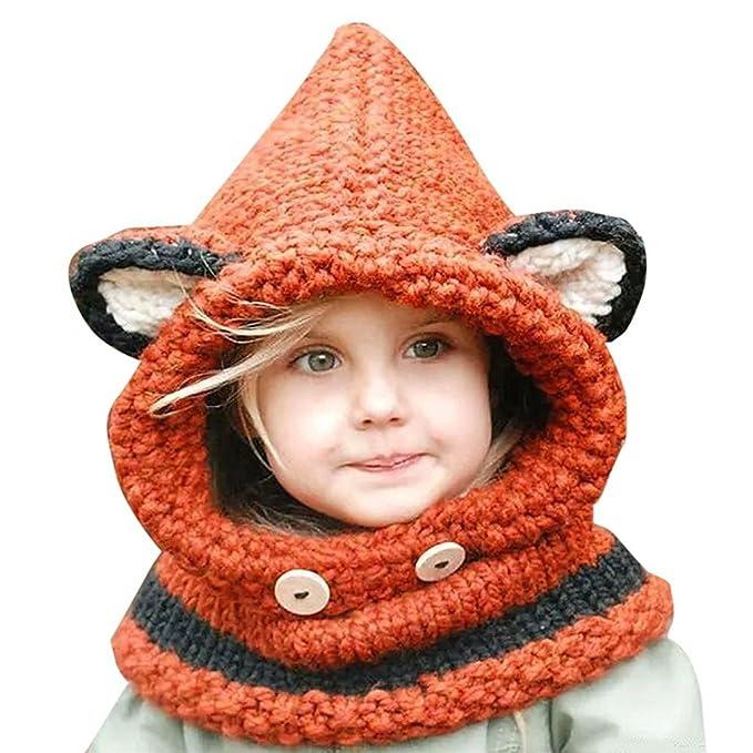 a475537ab7bd6 Kfnire gorros de punto cálidos bebé gorros de animales lindos fox sombrero  y bufanda gorros gorras