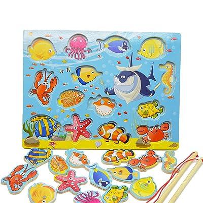 14pcs Fishes educativos de madera de construcción de pesca magnética mesa Jigsaw juego Junta, juguetes de regalo de cumpleaños para los niños Toddler: Juguetes y juegos