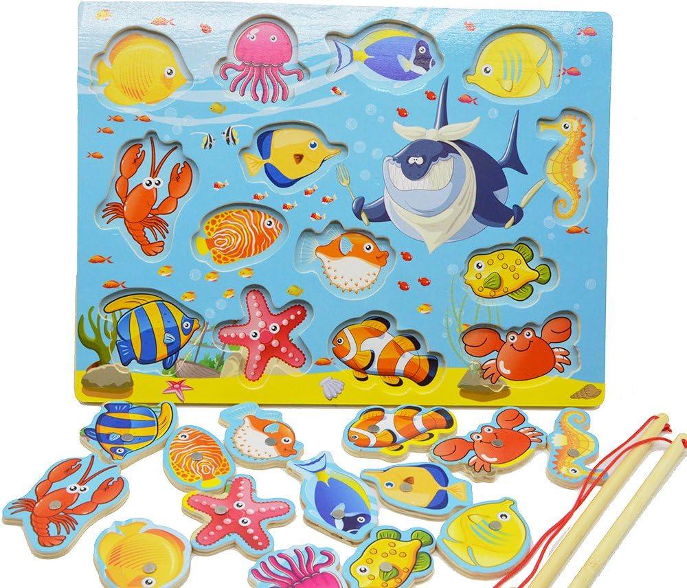 14pcs Fishes educativos de Madera de construcción de Pesca magnética Mesa Jigsaw Juego Junta, Juguetes de Regalo de cumpleaños para los niños Toddler