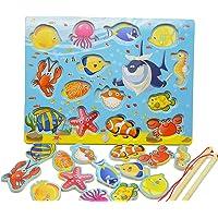 Tabella di Gioco Magnetico di Gioco del Puzzle del Gioco di Pesca di Sviluppo di Pesci 14pcs, Regali di Compleanno dei Giocattoli per il Bambino dei Bambini