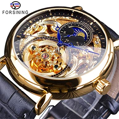 FORSINING Men s Automatic Analog Watch Fashion Skeleton Tourbillon Waterproof Moon Phase Leather Mechanical Watch
