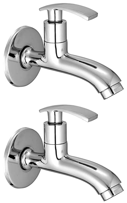 Drizzle Long Body Soft Brass Chrome Plated/Bathroom Tap/Quarter Turn Tap/Foam Flow Tap - Set of 2