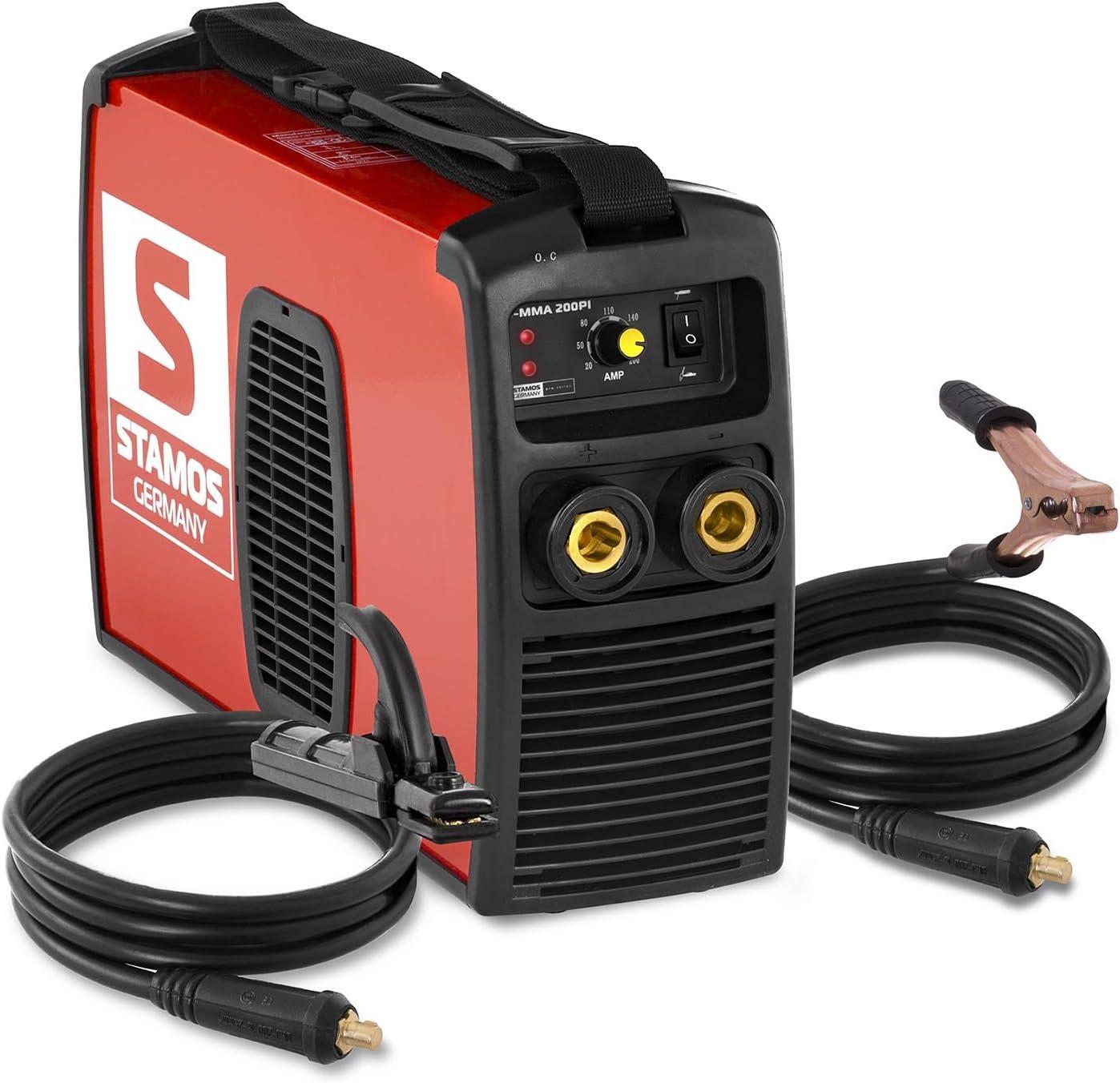 Stamos Germany Poste /à Souder /à lArc Poste a Souder Inverter MMA S-MMA-200-PI Basic 200 A, 230 V, IGBT, Power Ventilateur