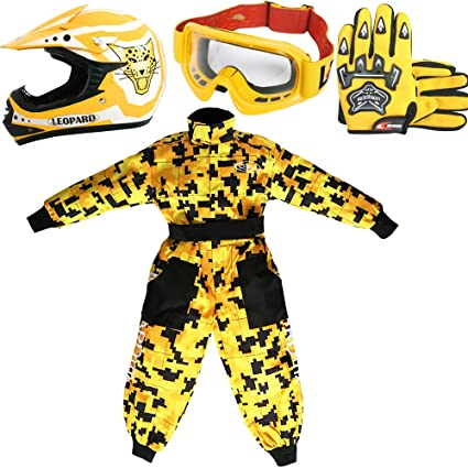 Leopard LEO-X17 Amarillo Casco de Motocross para Niños (L 53-54cm) + Gafas + Guantes (L 7cm) + Camo Traje de Motocross para Niños - S (5-6 Años)