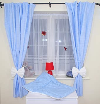 Amazing Nursery Baby Curtains With Tie Backs 6 Checkered Blue