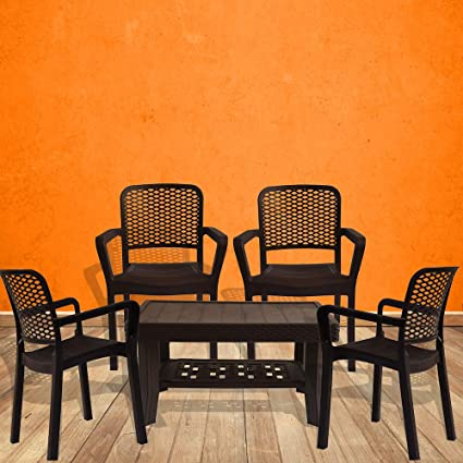 ITALICA Armchair and Table Combo (Brown) - Set of 4 Chairs