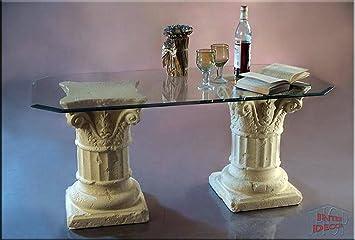 Griechisch Couchtisch Sulen Wohnzimmertisch Tisch Glastisch Luxusmbel Antik