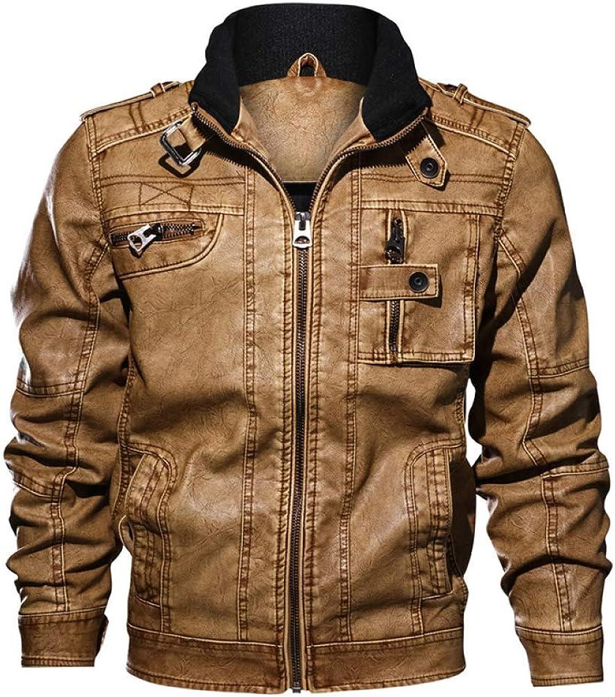 Loeay Chaqueta de Cuero de imitación para Hombre PU Coat Otoño Slim Fit Motocicleta Lavado Marrón Negro Vintage con Cremallera Elegante Casual Chaquetas de Motorista