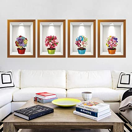 d158044db Image Unavailable. Image not available for. Color  LtrottedJ 3D Flower Wall  Sticker ,Removable Mural Decals Vinyl Art Living Room Decor