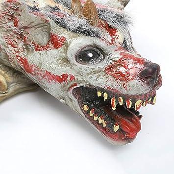 JN Accesorios de Halloween, Escultura de Halloween Modelo de Lobo Accesorios de Halloween Tema de Terror Vampiro Cabeza de Lobo Modelo de Animal Grande: Amazon.es: Juguetes y juegos