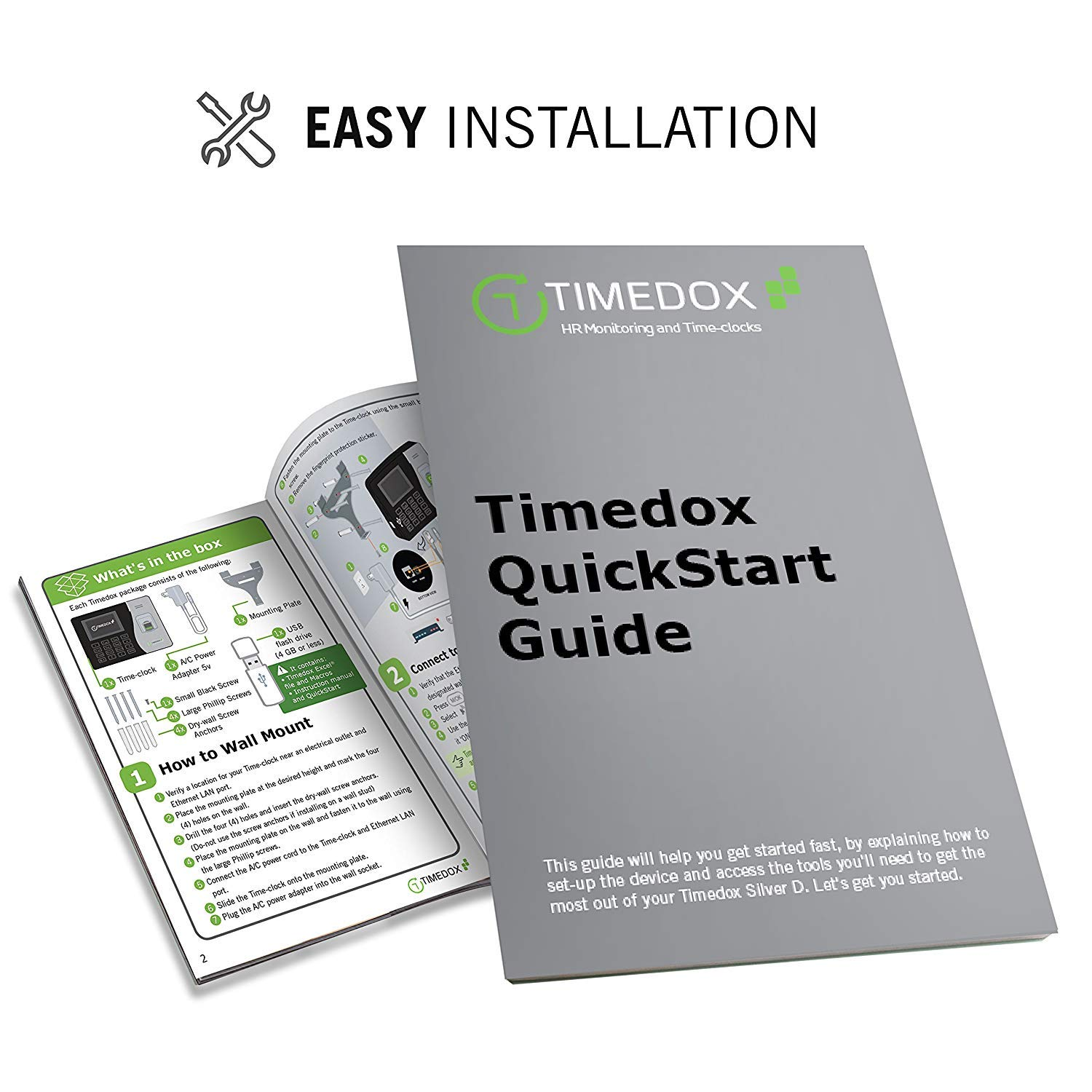 Include USB Flash Drive /& Dynamic Reports Creator Timedox Silver D Biometric Fingerprint Time Clock for Employees One Time Payment for The Software Required $0 Monthly Fee USA Support