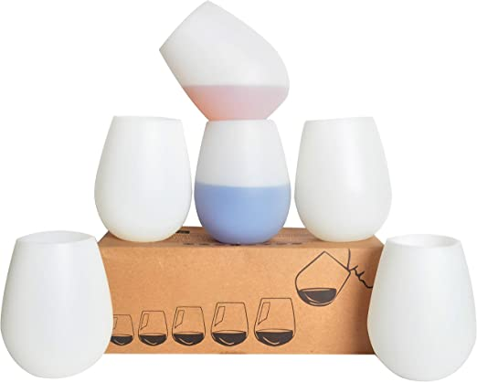 Set of 4 12oz Silicone Wine Glasses W// 2 Reusable Wine Bag Unbreakable Wine Glasses Rubber Wine glasses