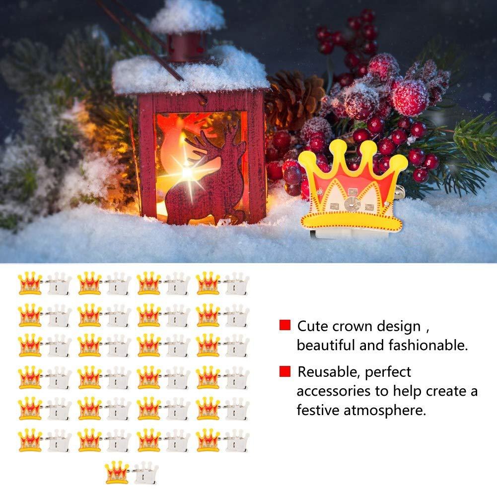 Hilitand 25Pcs LED-Blitz-Abzeichen-Knopf-Stift leuchten Weihnachtskrone-Abzeichen-Stift LED-Brosche auf