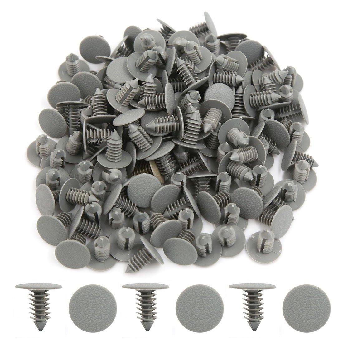 uxcell 50 Pcs Gray 9mm Dia Hole Plastic Rivets Fasteners Bumper Fender for Car Auto