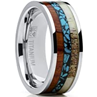 Ultimate Metals Co. ® Men's Titanium Ring Wedding Band with Real Deer Antler, Koa Wood and Turquoise Inlay, Outdoor Hunting